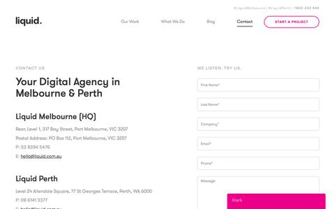 Contact Liquid Digital Agency Melbourne and Perth