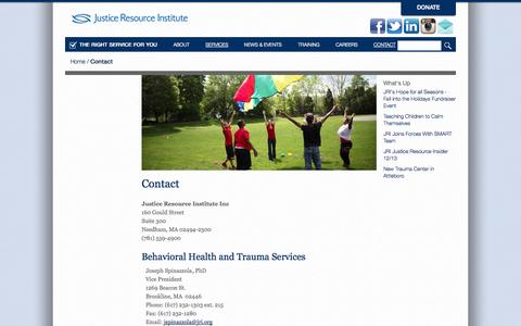 Screenshot of Contact Page jri.org - Contact | Justice Resource Institute - captured Oct. 6, 2014