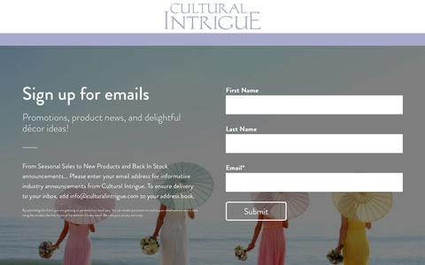 Screenshot of Signup Page culturalintrigue.com captured July 18, 2016