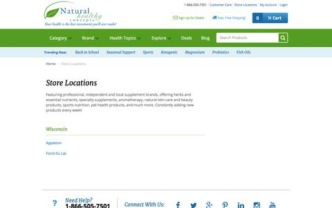 Screenshot of Locations Page naturalhealthyconcepts.com - Store Locations - captured Sept. 20, 2018