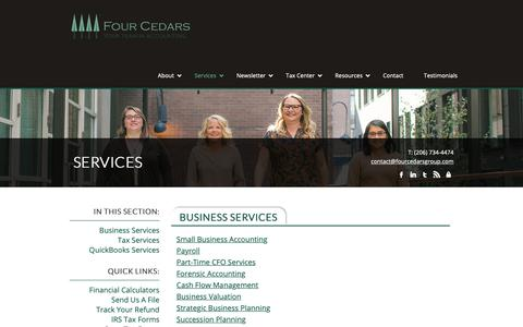 Screenshot of Services Page fourcedarsgroup.com - Accountant in Seattle | Our Services | Four Cedars Accounting - captured Oct. 11, 2018