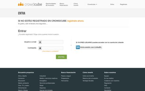 Screenshot of Login Page crowdcube.es - Login into your account - Crowdcube España | Financiación alternativa para inversores online - captured Nov. 1, 2014