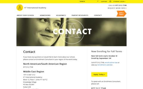 Screenshot of Contact Page icademy.com - Request more information | K12 International Academy - captured Sept. 19, 2014