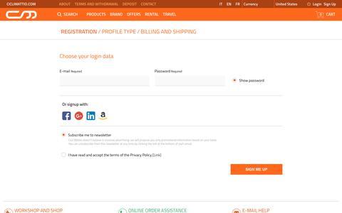 Screenshot of Signup Page ciclimattio.com - Cicli Mattio - captured July 7, 2018