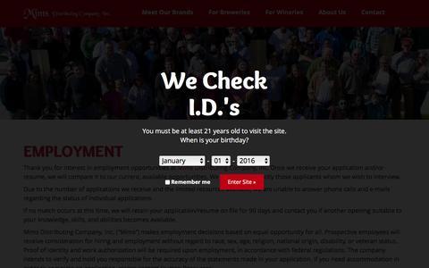 Screenshot of Jobs Page mimsdistributing.com - Employment - captured Feb. 13, 2016