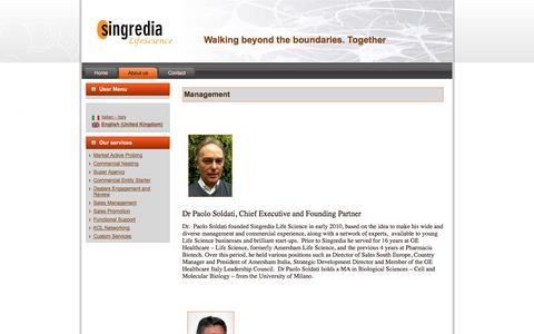 Screenshot of Team Page singredia.com - Management - captured Oct. 26, 2014