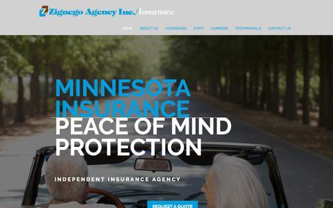 Screenshot of Home Page zignegoinsurance.com - Full-Service Insurance   Lake Elmo, MN   Zignego Agency, Inc. - captured Nov. 16, 2018