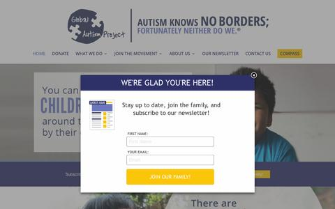Screenshot of Home Page globalautismproject.org - Home - Global Autism Project - captured Dec. 9, 2015