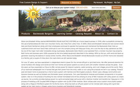 Screenshot of About Page backwoodssolar.com - About Us - captured Oct. 21, 2015