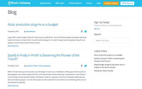 Screenshot of Blog musicgateway.net - Music News | How To Guides | Artist Interviews | Label Spotlight - captured Oct. 10, 2014