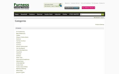 Screenshot of Site Map Page furnesstrading.com - Furness Trading - uk surplus stock, uk wholesale and clearance stock - captured Sept. 30, 2014