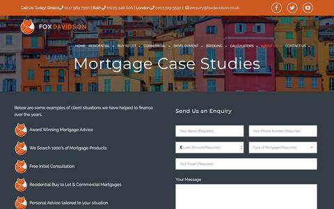 Screenshot of Case Studies Page foxdavidson.co.uk - Mortgage Case Studies of mortgages we have arranged. - captured Aug. 20, 2018