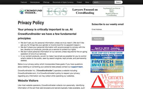 Screenshot of Privacy Page crowdfundinsider.com - Privacy Policy   Crowdfund Insider - captured March 30, 2018