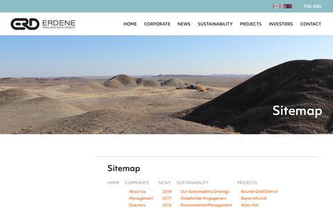 Screenshot of Site Map Page erdene.com - Sitemap | Erdene Resource Development Corp. - captured Nov. 9, 2018
