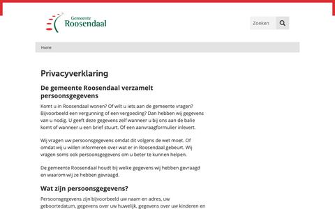 Screenshot of Privacy Page roosendaal.nl - Privacyverklaring   Gemeente Roosendaal - captured Sept. 27, 2018