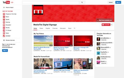 Screenshot of YouTube Page youtube.com - MediaTile Digital Signage  - YouTube - captured Oct. 27, 2014