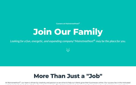 Screenshot of Jobs Page mainstreethost.com - Digital Marketing Careers at Mainstreethost in Buffalo, NY & Las Vegas - captured March 26, 2018