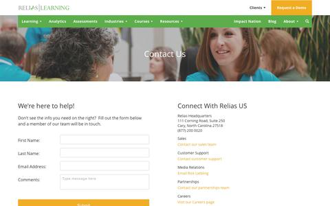 Screenshot of Contact Page reliaslearning.com - Contact Us | Relias - captured Sept. 28, 2017