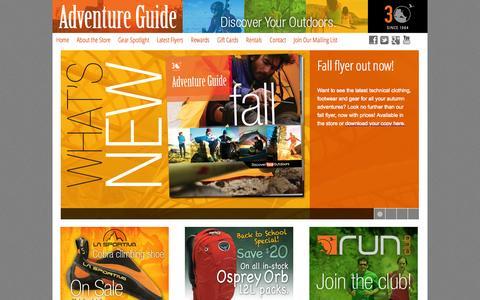 Screenshot of Home Page advguide.com - Adventure Guide Inc.Adventure Guide | Discover Your Outdoors - captured Sept. 19, 2014