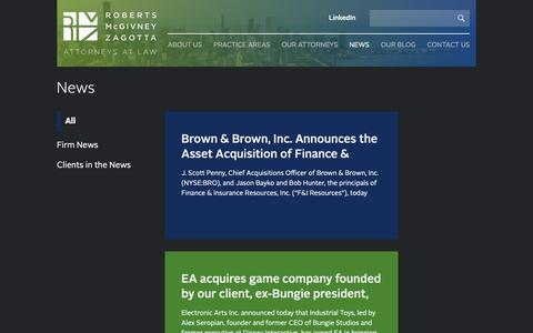 Screenshot of Press Page rmczlaw.com - Roberts McGivney Zagotta - captured Sept. 29, 2018