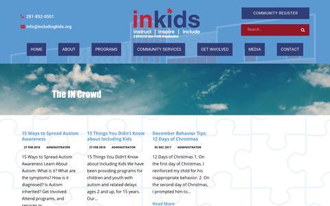 Screenshot of Blog includingkids.org - Including Kids Autism Blogs - captured Oct. 11, 2018