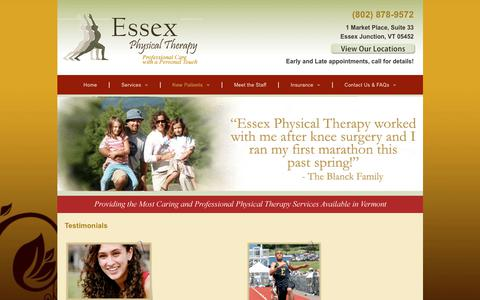 Screenshot of Testimonials Page eptvt.com - Physical Therapists | Essex Junction, VT - captured Sept. 29, 2018