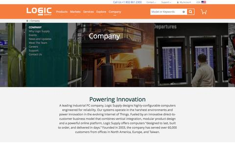 Screenshot of About Page logicsupply.com - Company  | Logic Supply - captured Feb. 17, 2017