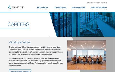Screenshot of Jobs Page ventasreit.com - Careers | Ventas - captured Oct. 5, 2019