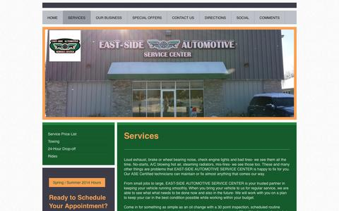 Screenshot of Services Page east-sideautomotive.com - Services - EAST-SIDE AUTOMOTIVE SERVICE CENTER - captured Oct. 1, 2014