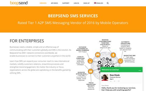 Screenshot of Services Page beepsend.com - The power of SMS messaging services - captured July 28, 2016
