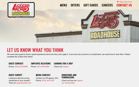 Screenshot of Contact Page logansroadhouse.com - Get In Touch - Contact Logan's Roadhouse - captured Dec. 2, 2017