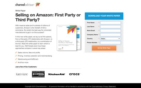 Screenshot of Landing Page channeladvisor.com - Selling on Amazon: First Party or Third Party? | ChannelAdvisor - captured Aug. 9, 2016