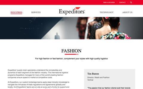 Industries | Fashion| Expeditors International of Washington, Inc.