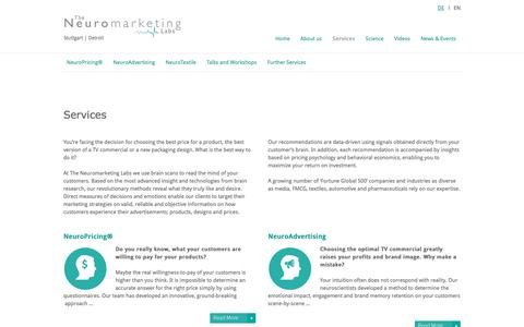 Screenshot of Services Page neuromarketing-labs.com - Neuro-pricing, Advertising, Marketing, Consulting - Neuromarketing Labs - captured Dec. 22, 2016