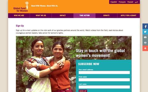 Screenshot of Signup Page globalfundforwomen.org - Sign Up - Global Fund for Women - captured Oct. 27, 2014