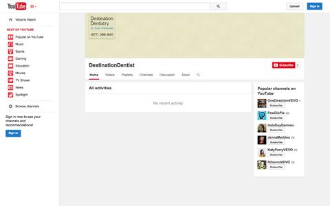 Screenshot of YouTube Page youtube.com - DestinationDentist  - YouTube - captured Nov. 3, 2014