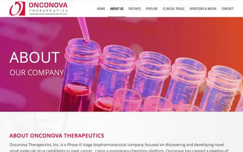 Screenshot of About Page onconova.com - About Our Company - Onconova Therapeutics, Inc. - captured Dec. 6, 2016