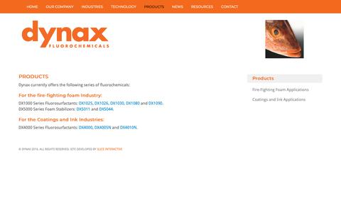 Screenshot of Products Page dynaxcorp.com - Products - Dynax Fluorosurfactants - captured Oct. 19, 2018