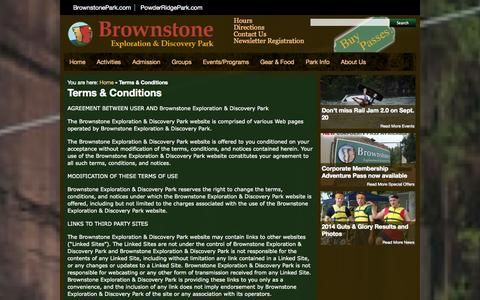 Screenshot of Terms Page brownstonepark.com - Terms & Conditions | Brownstone Park Connecticut - Zip Lines, Wakeboards, Rock Climb, Water Slides and Toys, Scuba and Swim - captured Sept. 23, 2014