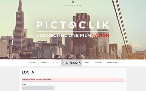 Screenshot of Signup Page pictoclik.com - Log In - Pictoclik - captured July 13, 2016