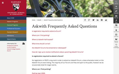 Screenshot of FAQ Page harvard.edu - Askwith Frequently Asked Questions | Harvard Graduate School of Education - captured May 30, 2017