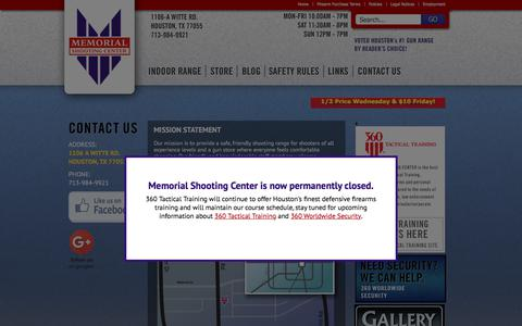 Screenshot of Contact Page memorialshootingcenter.com - Guns for Sale | Gun Store | Shooting Range | Houston TX | Contact Us - captured Sept. 20, 2018