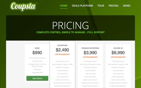 Screenshot of Pricing Page coupsta.com - Coupsta - Daily Deal Software - captured Sept. 13, 2014