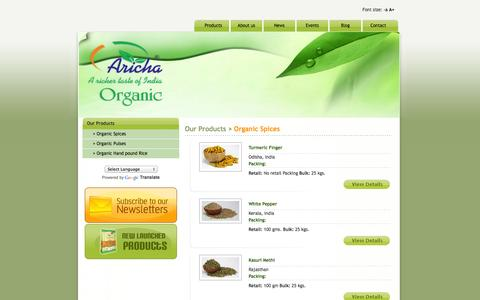 Screenshot of Products Page arichaindia.com - Aricha: Organic Spices and Organic Food Exporter of India - captured Oct. 4, 2014