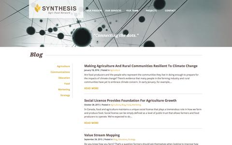 Screenshot of Blog synthesis-network.com - Blog | Synthesis Agri-Food Network - captured Dec. 2, 2016