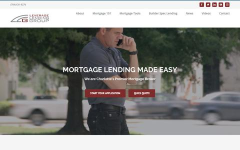 Screenshot of Home Page lendwithleverage.com - Leverage Lending Group - Mortgage Lending Made Easy - captured Sept. 28, 2018
