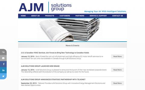 Screenshot of Press Page ajmsolutionsgroup.com - AJM Solutions Group Inc.  - Hospitality Solutions - captured Feb. 4, 2016