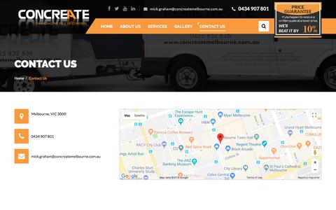 Screenshot of Contact Page concreatemelbourne.com.au - ContactUs ConcreateMelbourne - captured July 21, 2018