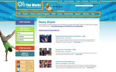 Screenshot of Press Page attheworks.org - News Room The Works - captured Oct. 7, 2014