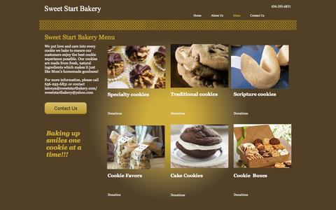 Screenshot of Menu Page sweetstartbakery.com - Sweet Start Bakery - captured Oct. 9, 2014